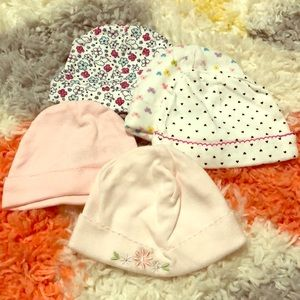 🌸girls child of mine by carters 0-3 month hats-5x